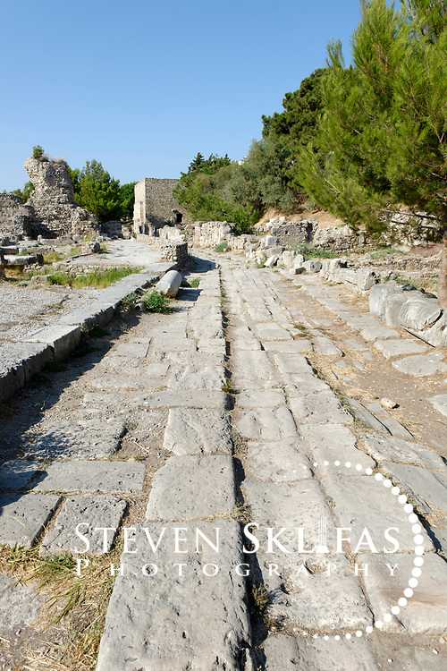 Kos Town.  View of the ancient cobbled port street Via Cardo in the Western Archaeological Zone. Kos is part of the Dodecanese island group and birthplace of the ancient physician and father of medicine, Hippocrates.