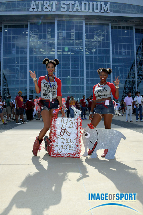 Sep 3, 2016; Arlington, TX, USA; Alabama Crimson Tide fans Leah Taylor (left) and Gabby Gaskin-Cole before the game against the USC Trojans at AT&T Stadium.