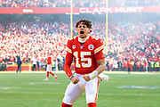 Kansas City Chiefs quarterback Patrick Mahomes fires up the fans before the start of an NFL, AFC Championship football game against the Tennessee Titans, Sunday, Jan. 19, 2020, in Kansas City, MO. The Chiefs won 35-24 to advance to Super Bowl 54. (AP Photo/Colin E. Braley) Colin Eric Braley Photography