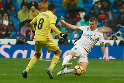 La Liga match between Real Madrid and Villareal CF at Santiago Bernabeu on January 13, 2018 in Madrid. 13 Jan 2018 Pictured: Toni Kroos (midfielder; Real Madrid), Pablo Fornals (midfielder; Villarreal CF). Photo credit: MEGA TheMegaAgency.com +1 888 505 6342