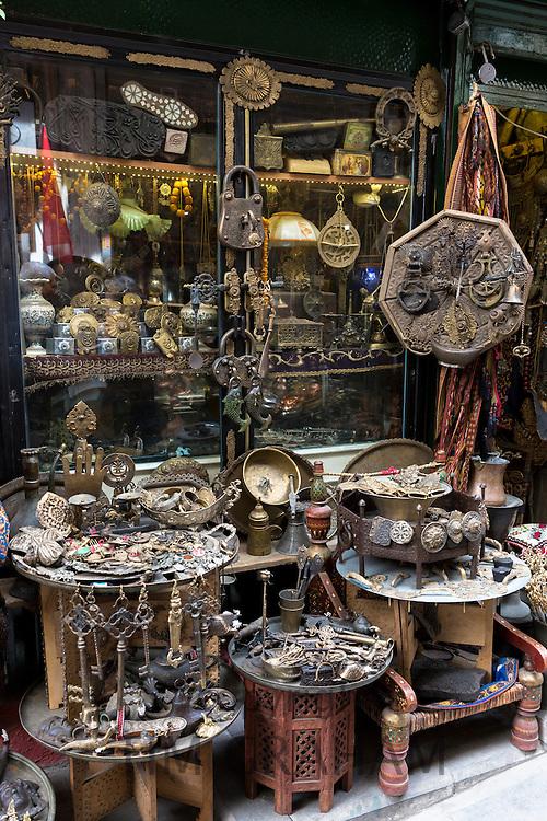 Metal objects in antique shop inside The Grand Bazaar, Kapalicarsi, great market in Beyazi, Istanbul, Turkey