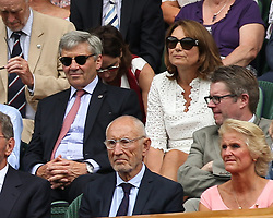 LONDON, ENGLAND - JULY 04: Carole and Michael Middleton attend day three of the Wimbledon Tennis Championships at the All England Lawn Tennis and Croquet Club on July 4, 2018 in London, England..People:  Carole and Michael Middleton (Credit Image: © SMG via ZUMA Wire)