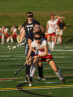Laconia's Gillian Connelley makes a pass during NHIAA Divison Field Hockey with White Mountain on Wednesday afternoon.  (Karen Bobotas/for the Laconia Daily Sun)