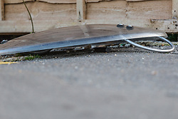 A riot shield covers what is possibly the knife used in the attack as a police cordon is in place in the area surrounding a Costa Coffee outlet on Bowes Road in Arnos green following a stabbing in which a male victim has been left in critical condition. Arnos Grove, North London, November 12 2018.