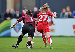 Sixteen year-old Lauren Hemp of Bristol City Women battles with Helen Alderson goalkeeper for Durham Ladies - Mandatory by-line: Paul Knight/JMP - 24/09/2016 - FOOTBALL - Stoke Gifford Stadium - Bristol, England - Bristol City Women v Durham Ladies - FA Women's Super League 2