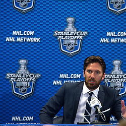 May 14, 2012: New York Rangers goalie Henrik Lundqvist speaks during the post game press conference following game 1 of the NHL Eastern Conference Finals between the New Jersey Devils and New York Rangers at Madison Square Garden in New York, N.Y. The Rangers defeated the Devils 3-0.