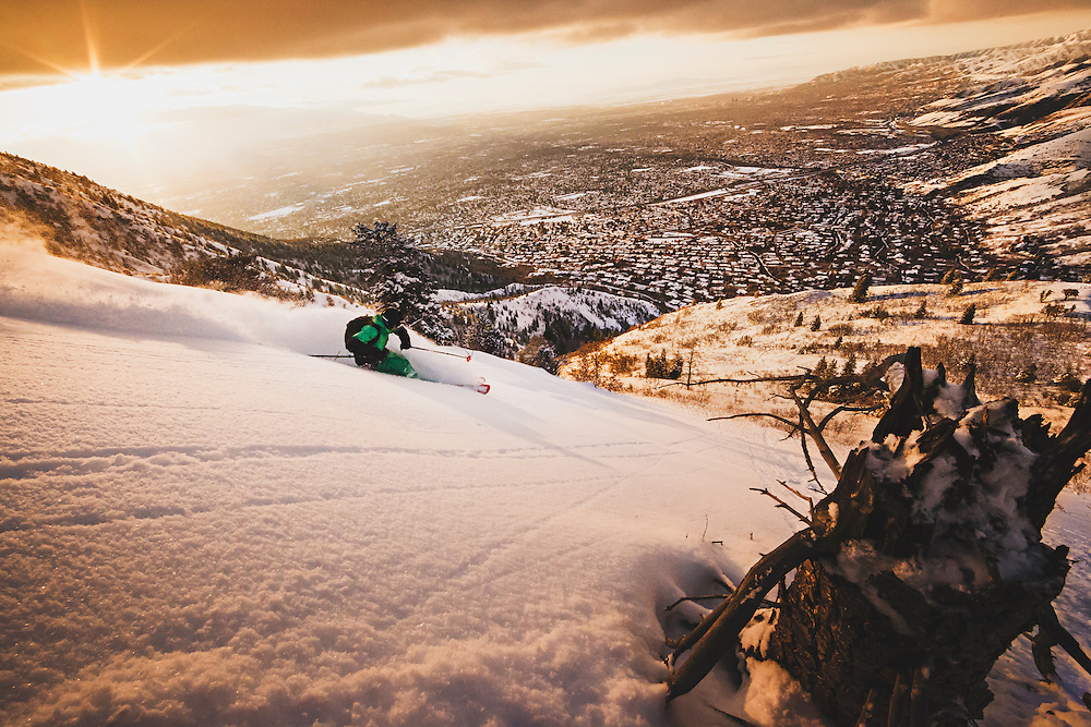 """Dimitri Littig """"DimO"""" finds excellent powder in the foothills above Salt Lake City."""