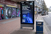 HM Government, and NHS advertising boards advise regular hand washing to help prevent Coronavirus contamination on Smallbrook Queensway in the city centre as people observe the stay at home advice from the government on 7th April 2020 in Birmingham, England, United Kingdom. Coronavirus or Covid-19 is a new respiratory illness that has not previously been seen in humans. While much or Europe has been placed into lockdown, the UK government has announced more stringent rules as part of their long term strategy, and in particular social distancing.