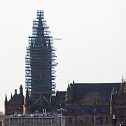 University of Glasgow tower with damage to scaffolding caused by Storm Gertrude. Picture Robert Perry 30th Jan 2016<br /> <br /> Must credit photo to Robert Perry<br /> FEE PAYABLE FOR REPRO USE<br /> FEE PAYABLE FOR ALL INTERNET USE<br /> www.robertperry.co.uk<br /> NB -This image is not to be distributed without the prior consent of the copyright holder.<br /> in using this image you agree to abide by terms and conditions as stated in this caption.<br /> All monies payable to Robert Perry<br /> <br /> (PLEASE DO NOT REMOVE THIS CAPTION)<br /> This image is intended for Editorial use (e.g. news). Any commercial or promotional use requires additional clearance. <br /> Copyright 2014 All rights protected.<br /> first use only<br /> contact details<br /> Robert Perry     <br /> 07702 631 477<br /> robertperryphotos@gmail.com<br /> no internet usage without prior consent.         <br /> Robert Perry reserves the right to pursue unauthorised use of this image . If you violate my intellectual property you may be liable for  damages, loss of income, and profits you derive from the use of this image.