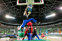 Performers Dunk Kings during friendly match before Eurobasket Lithuania 2011 between National teams of Slovenia and Lithuania, on August 24, 2011, in Arena Stozice, Ljubljana, Slovenia. Slovenia defeated Lithuania 88-66. (Photo by Vid Ponikvar / Sportida)