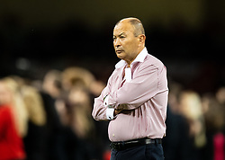 Head Coach Eddie Jones of England during the pre match warm up<br /> <br /> Photographer Simon King/Replay Images<br /> <br /> Friendly - Wales v England - Saturday 17th August 2019 - Principality Stadium - Cardiff<br /> <br /> World Copyright © Replay Images . All rights reserved. info@replayimages.co.uk - http://replayimages.co.uk