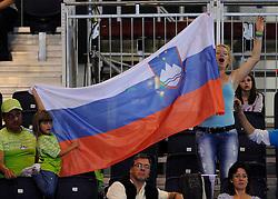 01-09-2012 ZITVOLLEYBAL: PARALYMPISCHE SPELEN 2012 USA - SLOVENIE: LONDEN.In ExCel South Arena wint USA van Slovenie / Support spectators Slovenia.©2012-FotoHoogendoorn.nl.