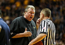 Jan 6, 2018; Morgantown, WV, USA; West Virginia Mountaineers head coach Bob Huggins yells at a referee during the first half against the Oklahoma Sooners at WVU Coliseum. Mandatory Credit: Ben Queen-USA TODAY Sports