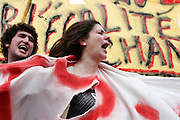 March 28th 2006. Paris, France..For the first time in two months, worker unions join students to protest against the government's controversial youth employment laws, known as CPE.  About a million people are estimated to have demonstrated across France. Because of the frightening acts of violence that happenned during the March 23rd protest, 4000 cops were around the  demonstration in Paris.