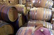 Oak barrel aging and fermentation cellar. Domaine Olivier Pithon, Calces, Roussillon, France