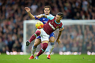 Mauro Zarate of West Ham United and Cesar Azpilicueta of Chelsea in action. Barclays Premier League, West Ham Utd v Chelsea at The Boleyn Ground, Upton Park in London on Saturday 24th October 2015.<br /> pic by John Patrick Fletcher, Andrew Orchard sports photography.