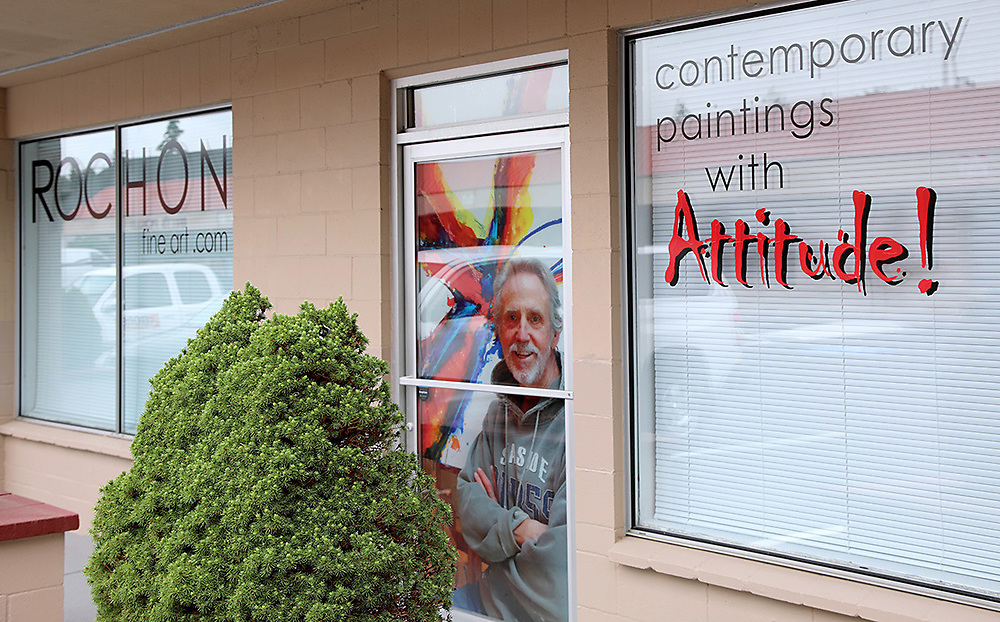 """Moved to much larger studio in Clinton WA, from Langley WA in 2018, twice the studio space! Notice the new logo """"Contemporary Paintings with Attitude."""" I think this reflects my unwillingness to alter my style of work, for anyone, except myself, which pretty much reflects my life's attitude. I'm not sure it's served me all that well in life, but it is what it is and I'm not about to compromise now, especially when it comes to my painting."""