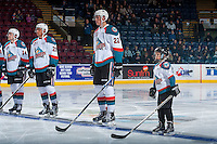 KELOWNA, CANADA - JANUARY 4: The pepsi save on foods player of the game lines up with Braydyn Chizen #22 of the Kelowna Rockets against the Spokane Chiefs on January 4, 2017 at Prospera Place in Kelowna, British Columbia, Canada.  (Photo by Marissa Baecker/Shoot the Breeze)  *** Local Caption ***