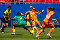 15-06-2019 FRA: Netherlands - Cameroon, Valenciennes<br /> FIFA Women's World Cup France group E match between Netherlands and Cameroon at Stade du Hainaut / Lieke Martens #11 of the Netherlands, Raissa Feudjio #8 of Cameroon