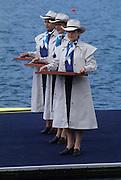 Sydney, AUSTRALIA, Medal presentation party,  Penrith's, West Lakes venue for the 2000 Olympic Regatta. Crews Boating and training   2000 Olympic Regatta, West Lakes Penrith. NSW.  [Mandatory Credit. Peter Spurrier/Intersport Images] Sydney International Regatta Centre (SIRC) 2000 Olympic Rowing Regatta00085138.tif