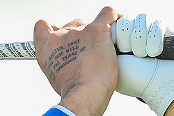 A tattoo on the right hand of Matthieu Pavon during day four of the Alfred Dunhill Links Championship at St Andrews. Picture date: Sunday October 3, 2021.
