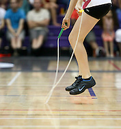 Loughborough, England - Saturday 31 July 2010: A detail shot of a double-under during the World Rope Skipping Championships held at Loughborough University, England. The championships run over 7 days and comprise junior categories for 12-14 year olds in the World Youth Tournament, 15-17 year olds male and female championships, and any age open championships. In the team competitions, 6 events are judged, the Single Rope Speed, Double Dutch Speed Relay, Single Rope Pair Freestyle, Single Rope Team Freestyle, Double Dutch Single Freestyle and Double Dutch Pair Freestyle. For more information check www.rs2010.org. Picture by Andrew Tobin/Picture It Now.