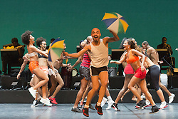 """© Licensed to London News Pictures. 07/07/2014. London, England. Wellington Lopes Jack at the front. Claudio Segovia's show """"Brasil Brasileiro"""" opens at Sadler's Wells Theatre with 35 performers from Rio de Janeiro. Conceived and directed by Claudio Segovia, this Brazilian music and dance show runs from 8-27 July 2014.  Photo credit: Bettina Strenske/LNP"""