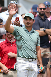 June 24, 2018 - Cromwell, Connecticut, United States - Jason Day waves to the gallery before teeing off the first hole during the final round of the Travelers Championship at TPC River Highlands. (Credit Image: © Debby Wong via ZUMA Wire)
