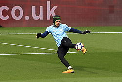 16 September 2017 -  Premier League - Watford v Manchester City - Manchester City goalkeeper Ederson wearing  protective head gear - Photo: Marc Atkins/Offside