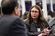 Debra Maltby networks at the Silicon Valley Business Journal's Scale Up event at the Computer History Museum in Mountain View, California, on November 13, 2018. (Stan Olszewski for Silicon Valley Business Journal)