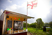 Bruce Forsyth's burger van which over looks the River Nene at Wansford picnic area along the A47 on the 07th May 2010 in Wansford in the United Kingdom.