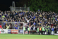 AFC Wimbledon fans celebrate Lyle Taylor forward for AFC Wimbledon (33) equalising to make it 3-2 on aggregate during the Sky Bet League 2 play-off 2nd leg match between Accrington Stanley and AFC Wimbledon at the Fraser Eagle Stadium, Accrington, England on 18 May 2016. Photo by Stuart Butcher.