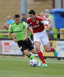 Bristol City's Brendan Maloney gets away from Forest Green Rovers Andrew Mangan - Photo mandatory by-line: Dan Rowley/JMP  - Tel: Mobile:07966 386802 20/07/2013 -Forest Green Rovers  vs Bristol City  - SPORT - FOOTBALL - Forest Green Rovers - Bristol city  -