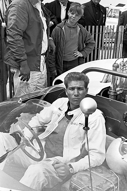 Jim Hall in his Chaparral 2 at Bridgehampton in 1965. Note the reel-to-reel tape recorder to take data from onboard sensors.