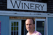 Keith Bodine in front of Sweetgrass Winery, Union, Maine.