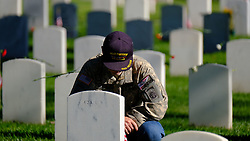 May 27, 2019 - Los Angeles, California, U.S. - People pay respect to fallen soldiers during an observance for Memorial Day at the Los Angeles National Cemetery. Californians are paying their respects on Memorial Day to those who have died serving their country. (Credit Image: © Jason Ryan/ZUMA Wire).