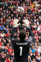Football - 2021 / 2022 Premier League - Liverpool vs Burnley - Anfield - Saturday 21st August 2021<br /> <br /> <br /> Liverpool's Alisson Becker in action during todays match