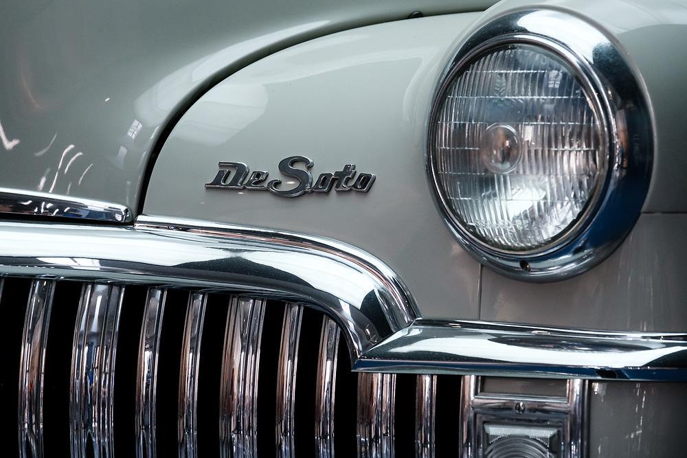 HAVANA, CUBA - CIRCA JANUARY 2020: Detail of old  Chevrolet DeSoto classic car in Havana.