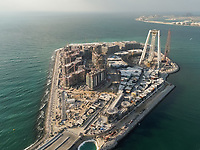 Aerial view of Blue Waters Island in construction in Dubai, United Arab Emirates.