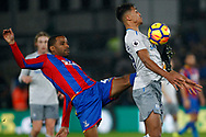 Jason Puncheon of Crystal Palace (L) tackles Dominic Calvert-Lewin of Everton (R). Premier League match, Crystal Palace v Everton at Selhurst Park in London on Saturday 18th November 2017.<br /> pic by Steffan Bowen, Andrew Orchard sports photography.
