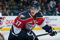 KELOWNA, CANADA - MARCH 28: Parker Wotherspoon #37 of Tri-City Americans skates against the Kelowna Rockets on March 28, 2015 at Prospera Place in Kelowna, British Columbia, Canada.  (Photo by Marissa Baecker/Getty Images)  *** Local Caption *** Parker Wotherspoon;