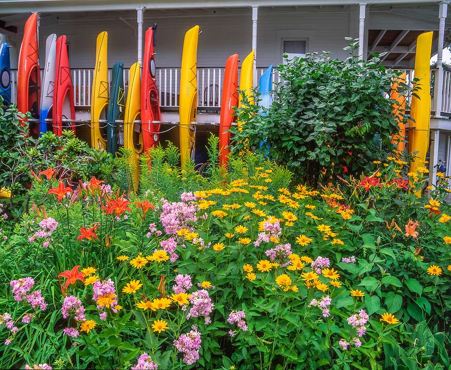 Colorful kayaks hang from porch, summer garden in bloom, New London, NH