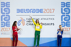 Second placed Ruth Beitia of Spain winner Airinė Palšytė of Lithuania and third placed Yuliya Levchenko of Ukraine celebrate during the victory ceremony after the High Jump Women Final on day two of the 2017 European Athletics Indoor Championships at the Kombank Arena on March 4, 2017 in Belgrade, Serbia. Photo by Vid Ponikvar / Sportida