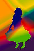 Digitally enhanced image of an Egyptian Beladi style Belly dancer On white Background