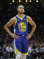 October 21, 2018 - Denver, Colorado, U.S - Warriors STEPHEN CURRY looks in disbelief at the score board as the Nuggets are close to beating his team during the 2nd. Half at the Pepsi Center Sunday night. The Nuggets beat the Warriors 100-98. (Credit Image: © Hector Acevedo/ZUMA Wire)