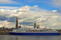 M/V Explorer Docked in Antwerp, Belgium. From Across the Schelde River. Image taken with a Nikon D800 and 70-300 mm VR lens (ISO 100, 50 mm, f/11, 1/200 sec)