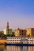 Cruise ships docked at Esna on the Nile River, Egypt