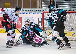 28.12.2018, Keine Sorgen Eisarena, Linz, AUT, EBEL, EHC Liwest Black Wings Linz vs HC Orli Znojmo, 32. Runde, im Bild v.l. Allan McPherson (HC Orli Znojmo) scort das 6 zu 2 gegen Tormann David Kickert (EHC Liwest Black Wings Linz) // during the Erste Bank Eishockey League 32th round match between EHC Liwest Black Wings Linz and HC Orli Znojmo at the Keine Sorgen Eisarena in Linz, Austria on 2018/12/28. EXPA Pictures © 2018, PhotoCredit: EXPA/ Reinhard Eisenbauer