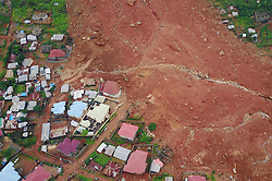 FREETOWN, Aug. 17, 2017  Aerial photo taken on Aug. 17, 2017 shows the mudslide site in Freetown, Sierra Leone. Altogether 331 bodies have been taken to the morgue by the rescue team following the devastating mudslide, according to Sinneh Kamara, head of the Connaught Mortuary in Freetown, capital of Sierra Leone, on Thursday.  jmmn) (Credit Image: © Chen Cheng/Xinhua via ZUMA Wire)
