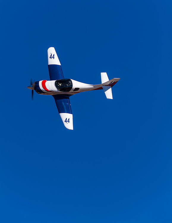 """Lancair Legacy L2K """"Miss Karen II"""", flown by Lynn Farnsworth of Roswell, Georgia flies in the Sport class Gold Race, Sunday afternoon at Reno."""